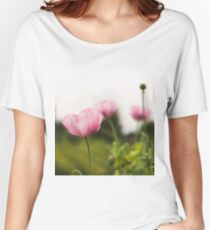 Selective focus on a blooming poppy Women's Relaxed Fit T-Shirt