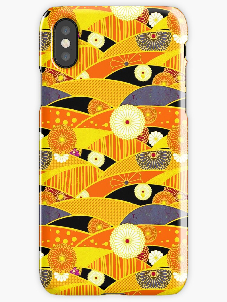 Chiyogami Tangerine & Blueberry [iPhone / iPod Case and Print] by Damienne Bingham