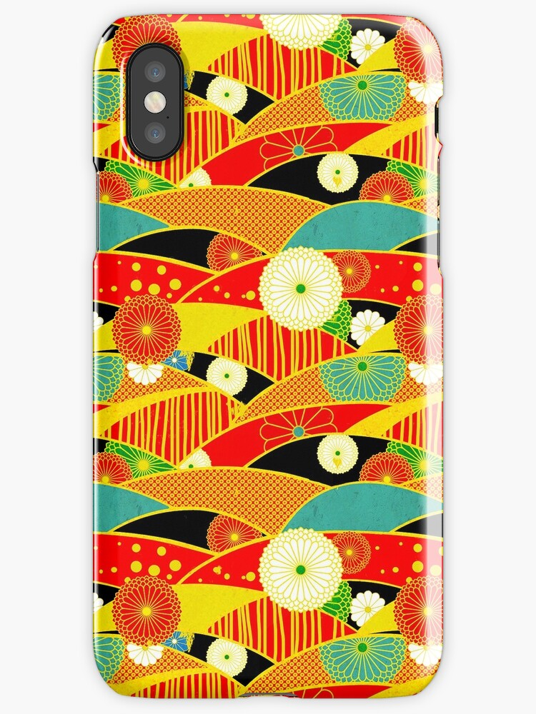 Chiyogami Crimson & Carrot [iPhone / iPod Case and Print] by Didi Bingham