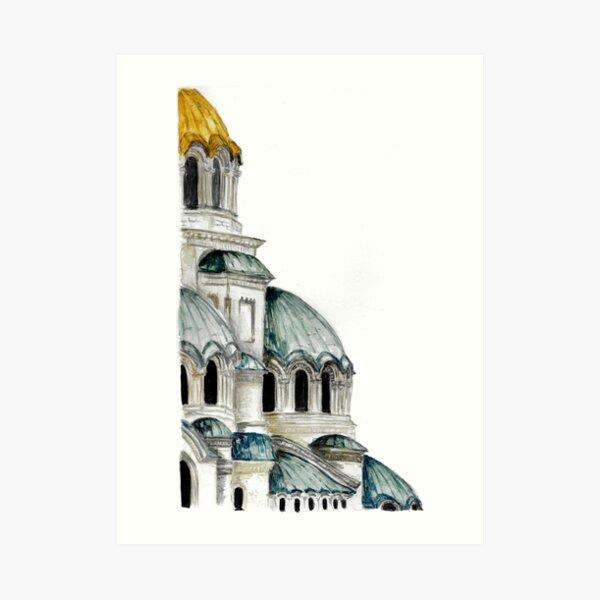 St. Alexander Nevsky Cathedral Sofia, Bulgaria, Watercolor Art Print
