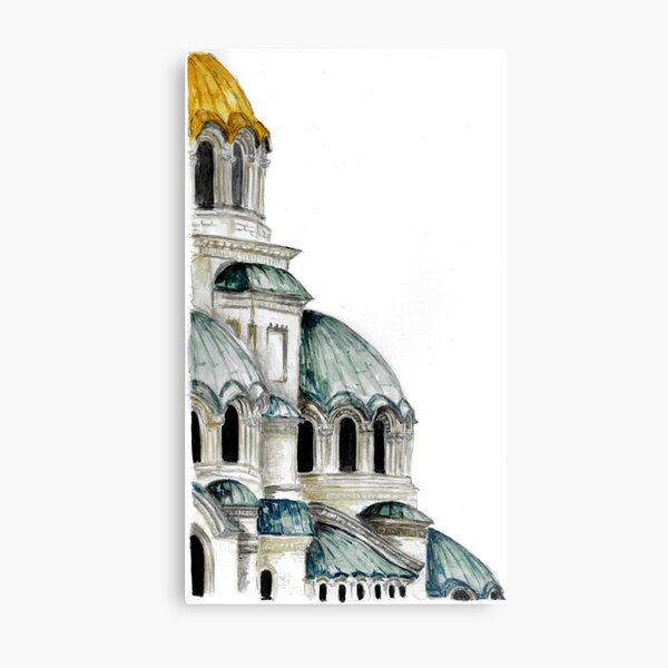 St. Alexander Nevsky Cathedral Sofia, Bulgaria, Watercolor Metal Print