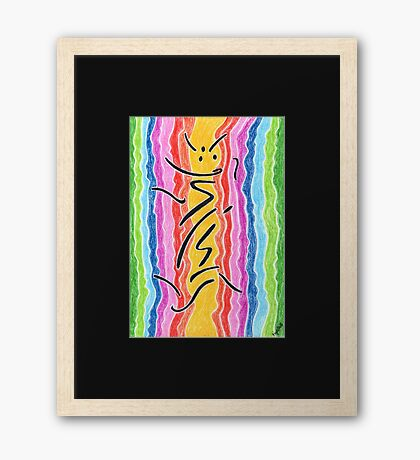 2211 - Black Signs before Rainbow Stream Framed Print