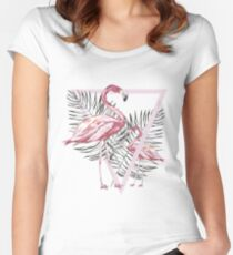 Pink flamingo and tropical leaf Women's Fitted Scoop T-Shirt
