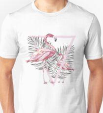 Pink flamingo and tropical leaf T-Shirt