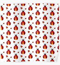 Ladybug. Vector pattern Poster