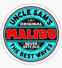 SURFING MALIBU CALIFORNIA SURF SURFER SURFBOARD WAX UNCLE SAM Sticker