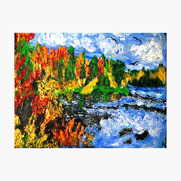 """""""Fiery Glow Around The Lake"""", Finger Painting Photographic Print"""