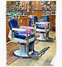 Two Barber Chairs With Pink Striped Barber Capes Poster