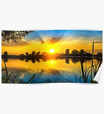 Sunset and the river. Ultra-realistic painting Poster
