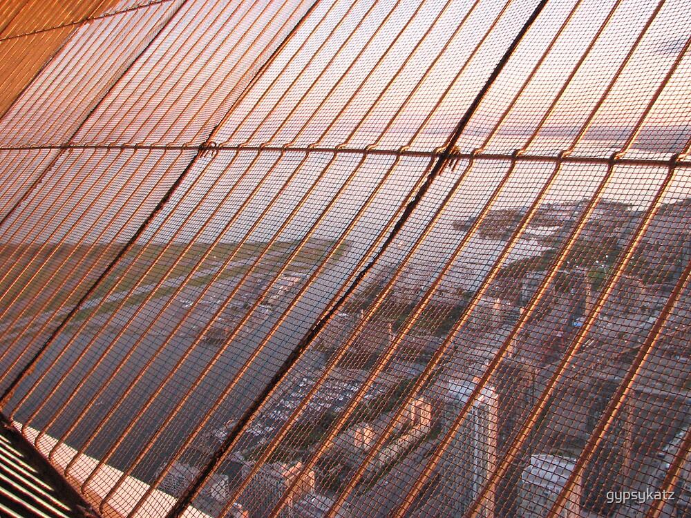 CN TOWER # 11..LOOKING THROUGH THE MESH by gypsykatz