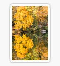 Wooden deck over looking a lake in Autumn Sticker