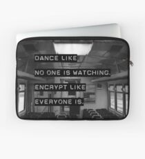 Encrypt like everyone is watching (B&W BG) Laptop Sleeve
