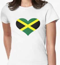 Jamaica flag heart Womens Fitted T-Shirt