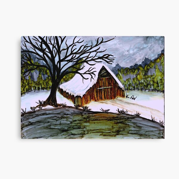 Winter Barn at the Pond Canvas Print