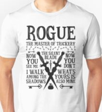 ROGUE, The Master of Trickery - Dungeons & Dragons (Black Text) T-Shirt