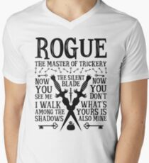 ROGUE, The Master of Trickery - Dungeons & Dragons (Black Text) Men's V-Neck T-Shirt