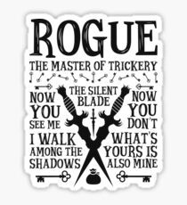ROGUE, The Master of Trickery - Dungeons & Dragons (Black Text) Sticker