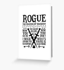 ROGUE, The Master of Trickery - Dungeons & Dragons (Black Text) Greeting Card