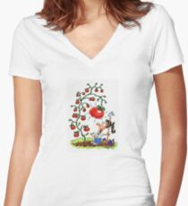 The Giant Tomato Women's Fitted V-Neck T-Shirt