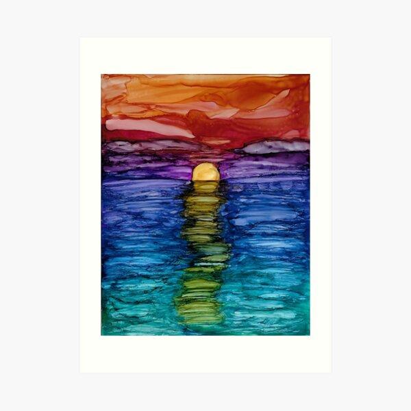 Rainbow Sunset on the Ocean Art Print