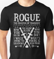 ROGUE, The Master of Trickery - Dungeons & Dragons (White Text) Unisex T-Shirt