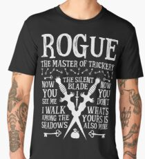 ROGUE, The Master of Trickery - Dungeons & Dragons (White Text) Men's Premium T-Shirt