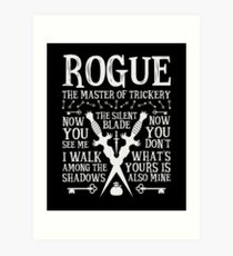 ROGUE, The Master of Trickery - Dungeons & Dragons (White Text) Art Print