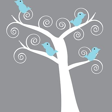 Five Blue Birds in a Tree Gray Background by ValeriesGallery