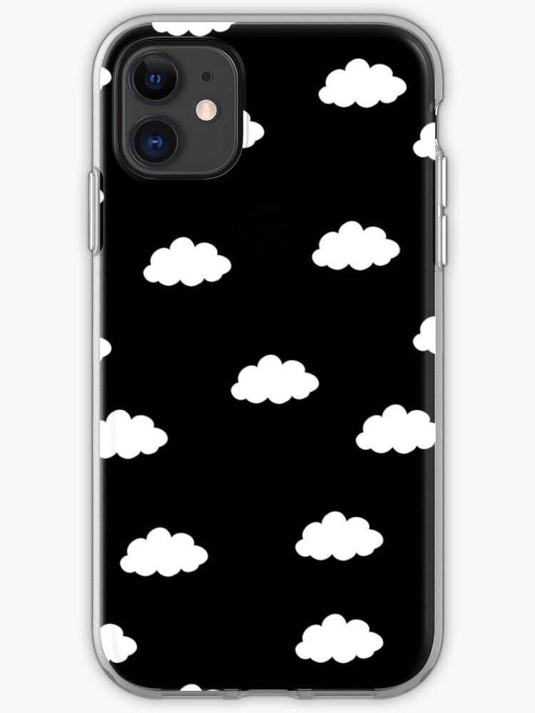 White Clouds In Black Background Iphone Case Cover By Bigmoments Redbubble