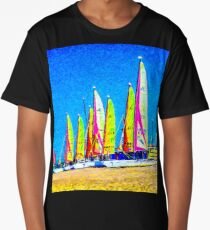 Multicolored sails against the background of sky. Synthetic watercolor Long T-Shirt