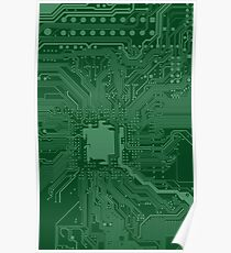 Green Geek Motherboard Circuit Pattern Poster
