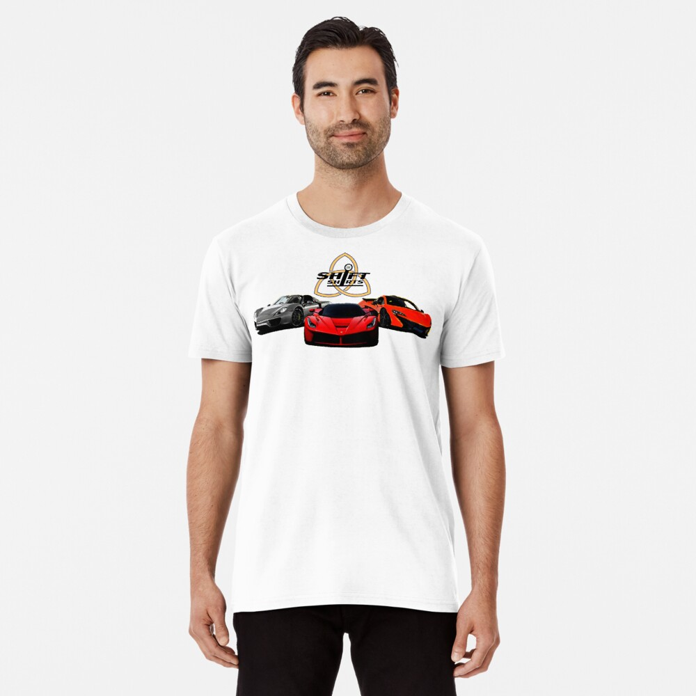 The Trinity - McLaren P1 LaFerrari Porsche 918 Inspired  Men's Premium T-Shirt Front