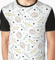 Back to the Tropical 80's Memphis Pastel Mint Green, Pink, Yellow Pattern Graphic T-Shirt