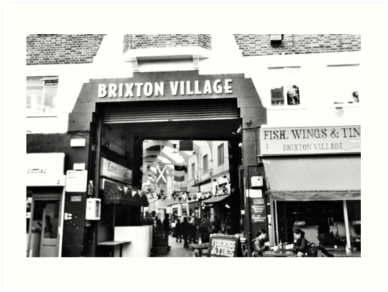 Brixton Village Entrance - Black and White by Andy Broomfield