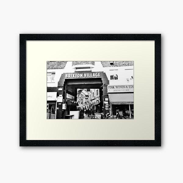 Brixton Village Entrance - Black and White Framed Art Print