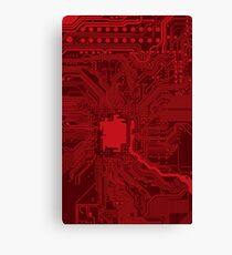 Red Geek Motherboard Circuit Pattern Canvas Print