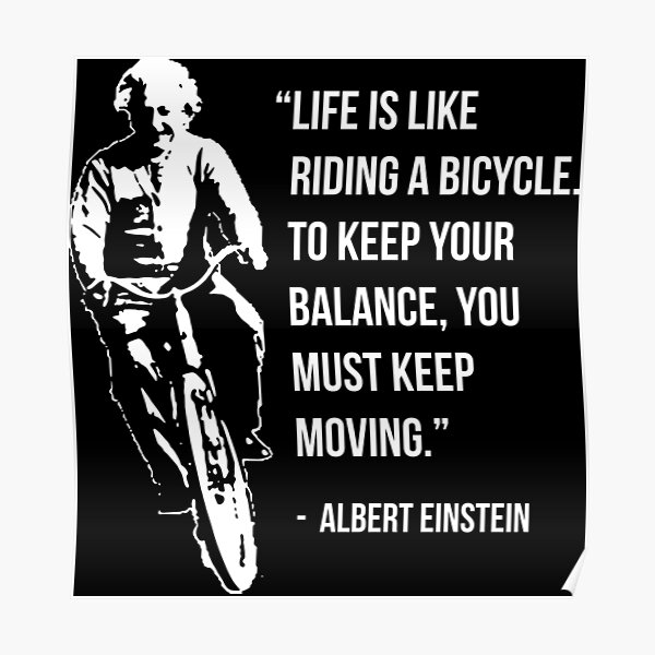 Albert Einstein Poster Riding A Bicycle Black And White