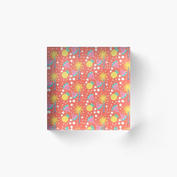 Watermelon and Pineapple Sparkles Pattern Acrylic Block