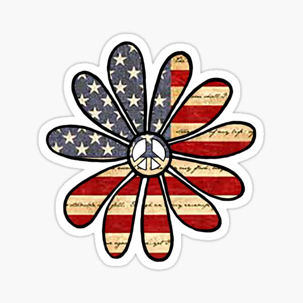 Flower Power American Flag Sticker