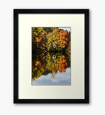 Reflection of fall foliage in a lake Framed Print
