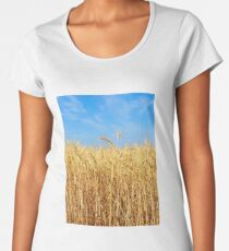 Wheat ears on a field against blue sky. Women's Premium T-Shirt