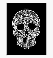 Mandala Skull - White Print Photographic Print