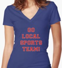 Go Sports! (Red) Women's Fitted V-Neck T-Shirt