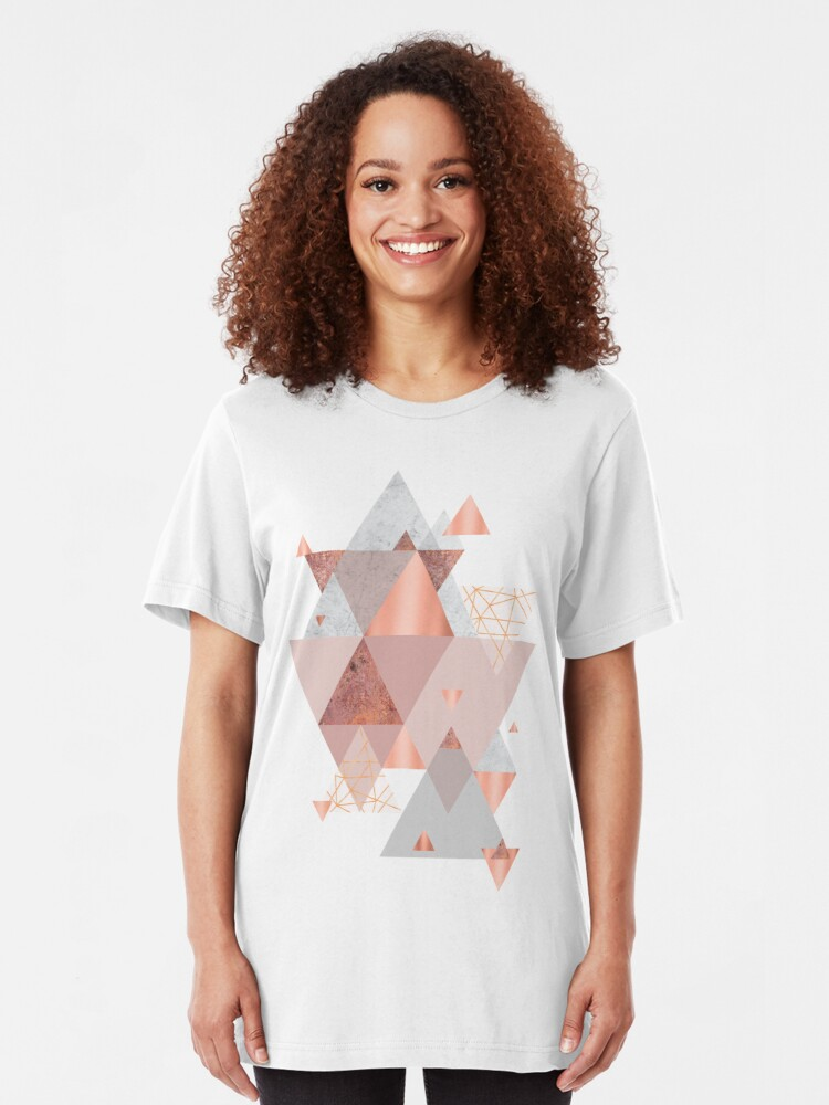 Alternative Ansicht von Erröten Rosa Geo Slim Fit T-Shirt