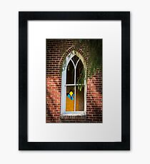 Church Window with Stained Glass Framed Print