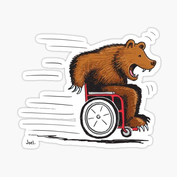 Bear in a wheelchair Sticker