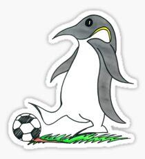 Soccer Playing Penguin Sticker