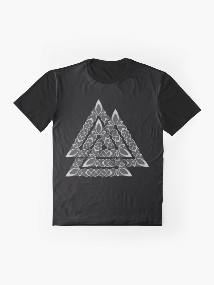 Alternate view of Valknut Knotwork Graphic T-Shirt