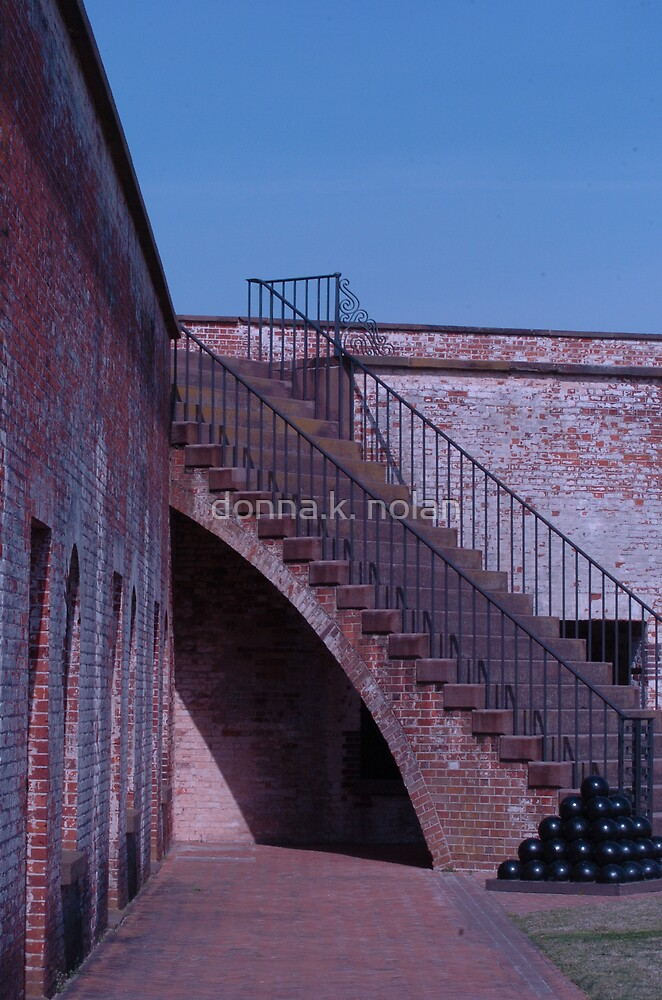 corner stairs with cannon balls... by donna.k. nolan