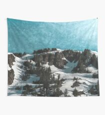 Cascade Freeze - Blue Textured Sky Behind Beautiful Mountains Wall Tapestry